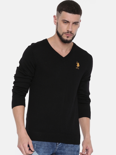 U.S. Polo Assn. Men Black Solid Pullover