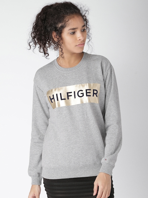 Tommy Hilfiger Women Grey Printed Sweatshirt