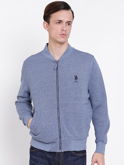 U.S. Polo Assn. Men Blue Solid Sweatshirt