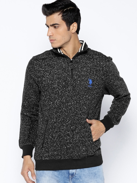 U.S. Polo Assn. Men Black Solid Sweatshirt