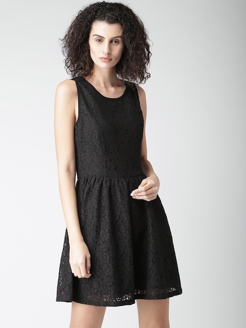 Tommy Hilfiger Women Black Self Design Fit & Flare Lace Dress