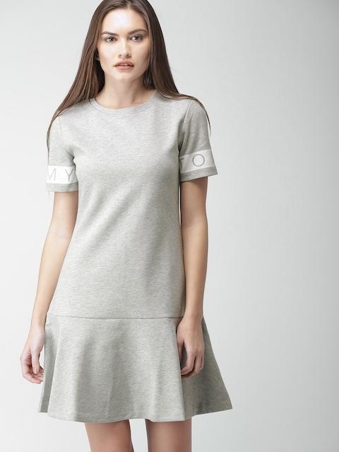 Tommy Hilfiger Women Grey Melange Solid Drop-Waist Dress