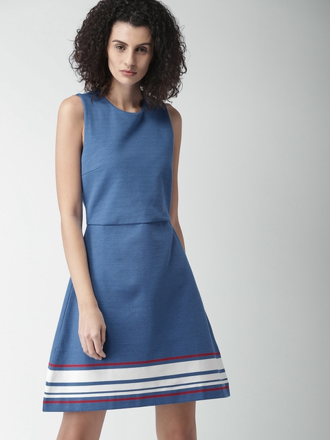 Tommy Hilfiger Women Blue Solid Fit & Flare Dress