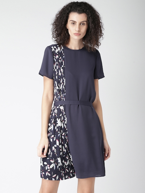 Tommy Hilfiger Women Navy Blue Printed A-Line Dress