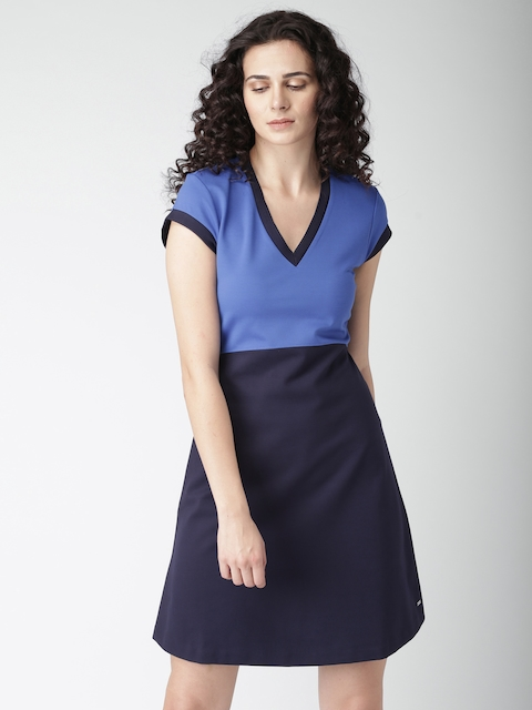 Tommy Hilfiger Women Blue Colourblocked A-Line Dress