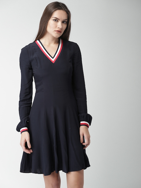 Tommy Hilfiger Women Navy Solid A-Line Dress