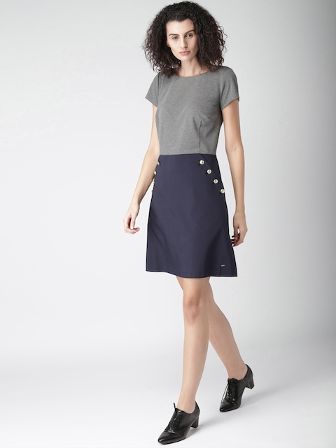 Tommy Hilfiger Women Grey Colourblocked A-LineDress