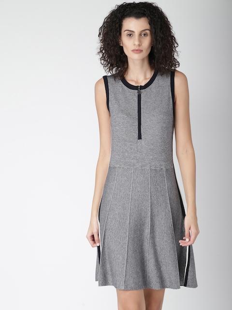 Tommy Hilfiger Women Navy Blue Solid Fit & Flare Dress