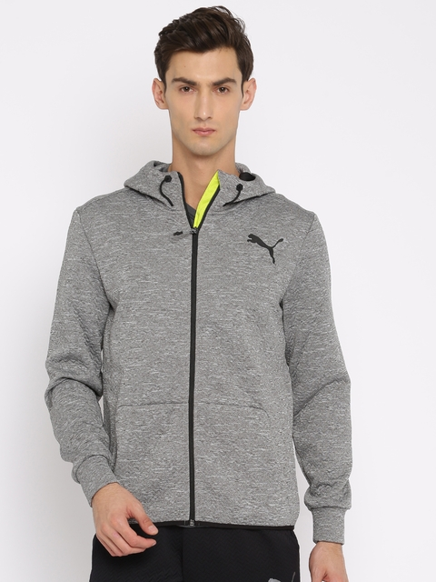 Puma Men Grey Solid Sporty VENT FLEECE Jacket