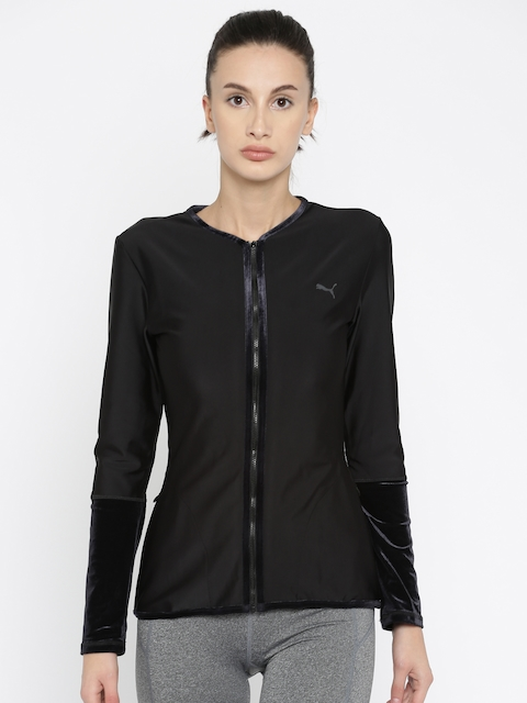 Puma Women Black Explosive Velvet Sporty Jacket