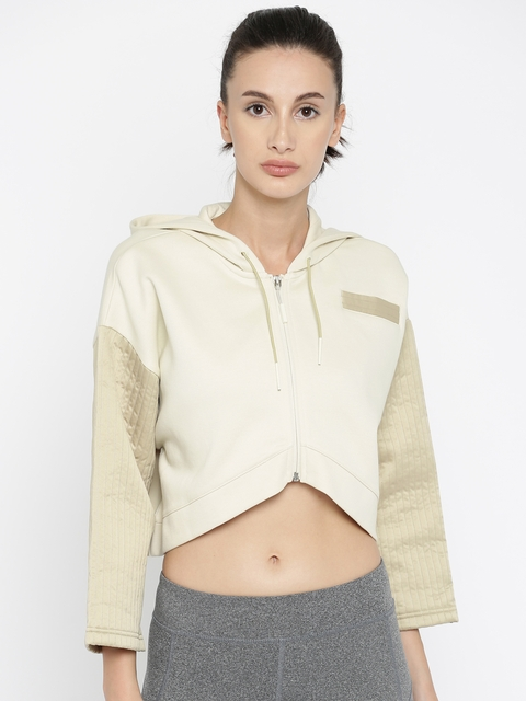 Puma Women Beige Solid Quilted FZ Crop Hooded Sporty Jacket