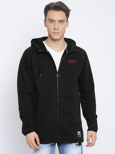 Puma Men Black Solid Record Fleece FZ Hooded Sweatshirt