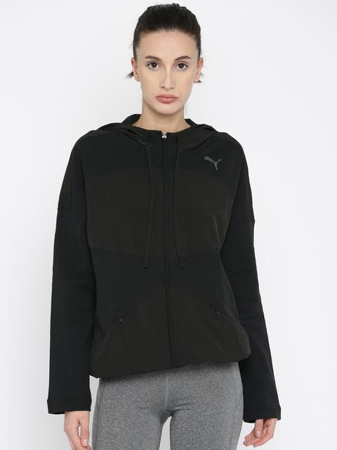 Puma Women Black TRANSITION FZ W Sporty Jacket