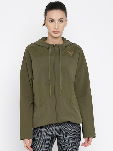 Puma Women Olive Green Solid TRANSITION FZ Relaxed Fit Hooded Sporty Jacket