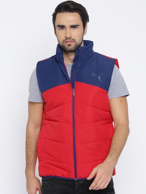 Puma Men Red & Blue Colourblocked ESS Padded Jacket