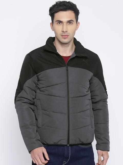 Puma Men Charcoal Grey & Black Colourblocked ESS Padded Jacket