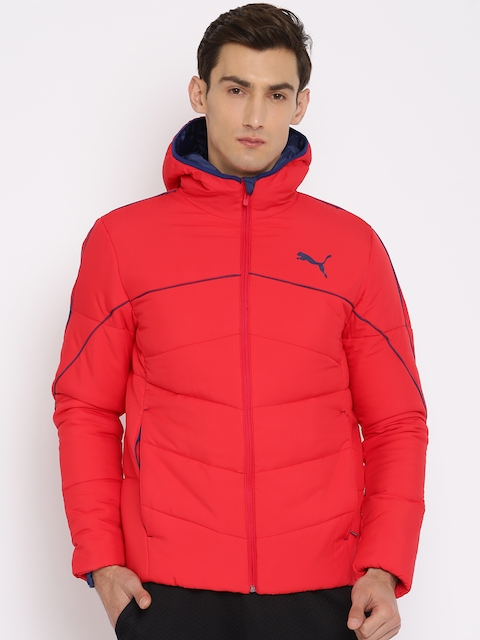Puma Men Red Solid ESS 400 DOWN HD Padded Jacket