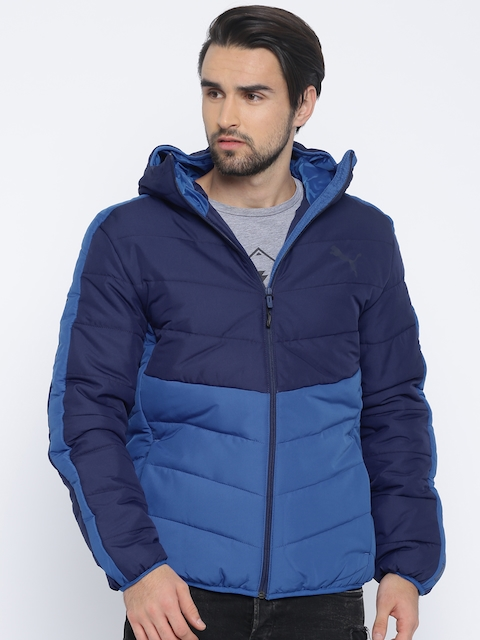 Puma Men Blue Solid Insulator ESS warmCELL Padded Hooded Jacket