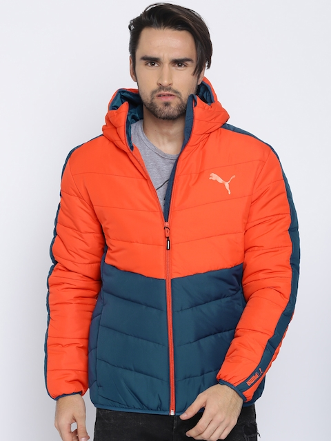 Puma Men Orange & Blue Solid ESS warmCELL Padded Jacket