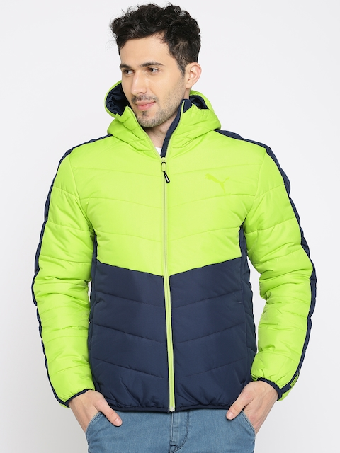 Puma Men Fluorescent Green & Blue Colourblocked ESS warmCELL Padded JACKET Jacket