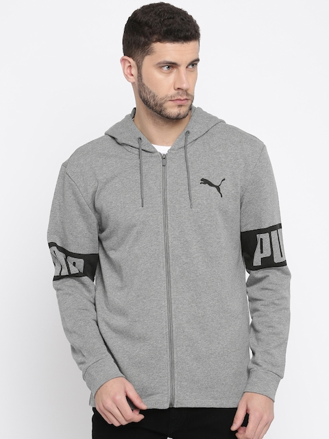 Puma Men Grey Printed Rebel FZ Sporty Jacket