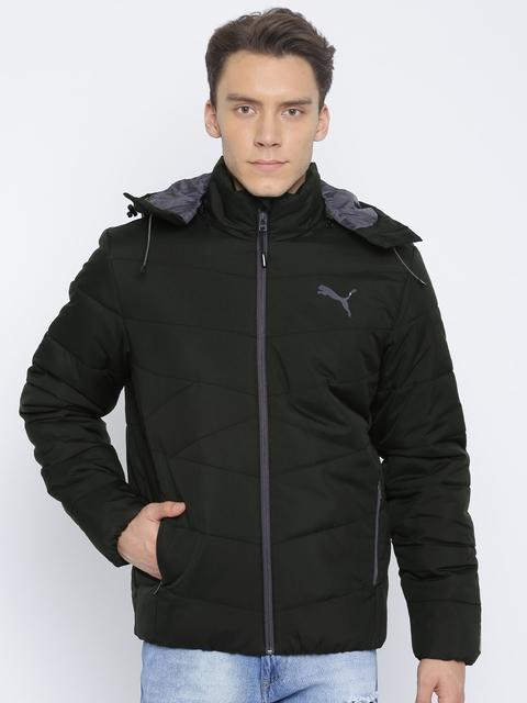 Puma Men Black Solid NLA Hooded Padded Jacket