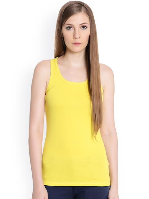 United Colors of Benetton Women Yellow Self Design Tank Top