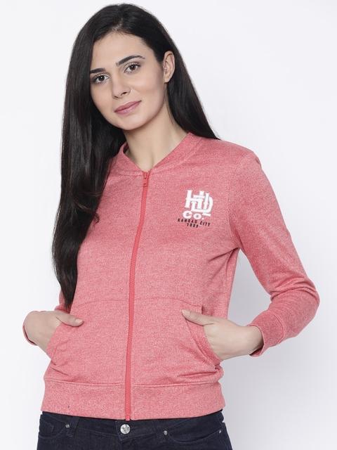 Lee Women Red Self Design Sweatshirt