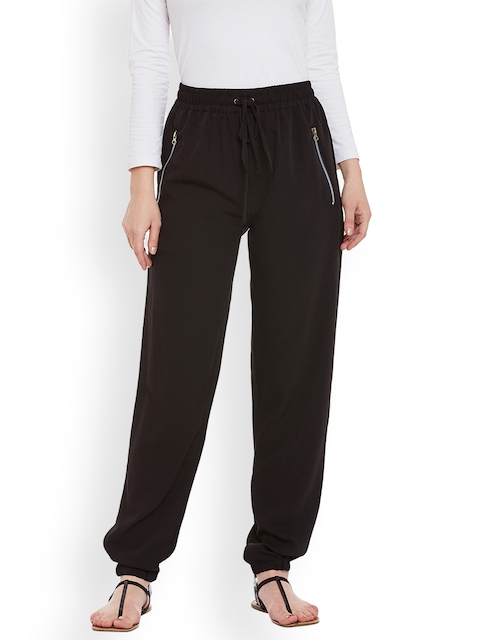 Ruhaans Women Black Relaxed Regular Fit Solid Trousers