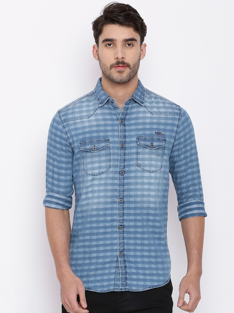 Mufti Men Blue Regular Fit Striped Casual Shirt  available at myntra for Rs.1199