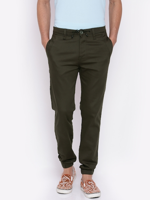Mufti Men Olive Green Regular Fit Solid Joggers