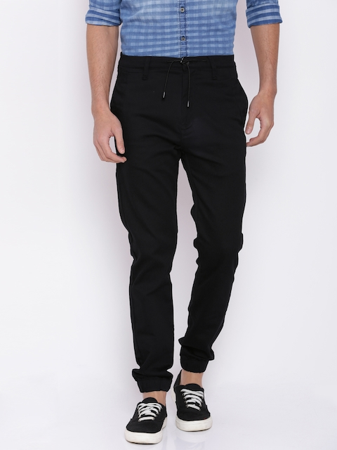 Mufti Men Black Regular Fit Solid Joggers