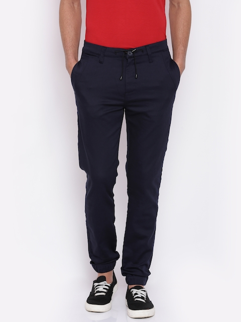 Mufti Men Navy Blue Regular Fit Solid Joggers