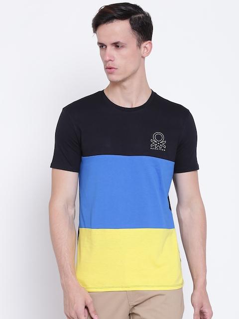 United Colors of Benetton Men Black & Blue Colourblocked Round Neck T-shirt