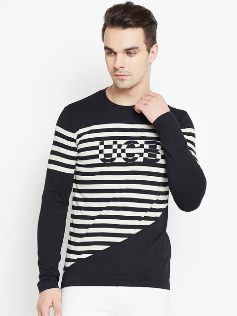 United Colors of Benetton Men Black & White Striped Round Neck T-shirt