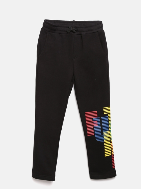 United Colors of Benetton Boys Black Printed Detail Track Pants