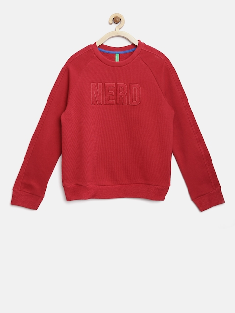 United Colors of Benetton Boys Red Solid Sweatshirt