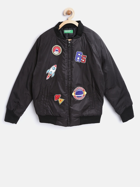 United Colors of Benetton Boys Black Bomber Jacket with Appliques