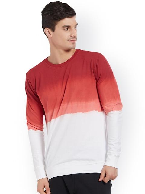 DEEZENO Men Red & White Colourblocked Sweatshirt