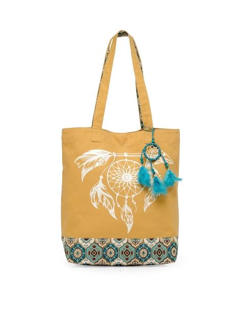 The House of Tara Khaki Printed Tote Bag