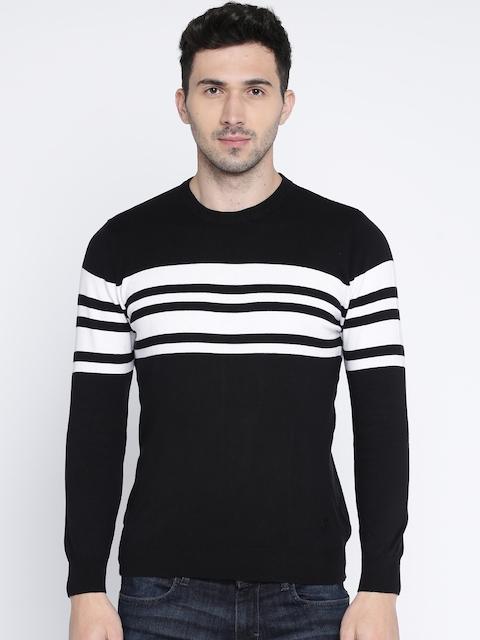 Wrangler Men Black & White Striped Pullover