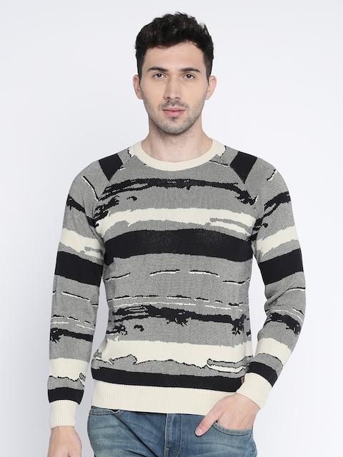 Wrangler Men Black & Beige Self Design Pullover