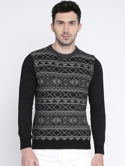 Wrangler Men Black & Grey Self Design Pullover
