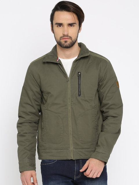 Wrangler Men Olive Green Solid Padded Jacket  available at myntra for Rs.2647