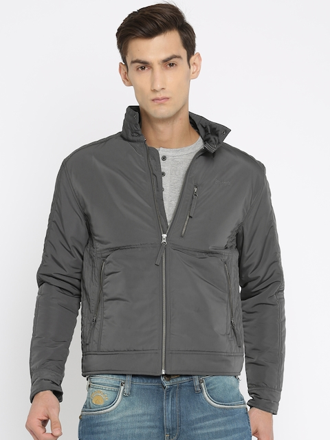 Wrangler Men Grey Solid Padded Jacket  available at myntra for Rs.2447