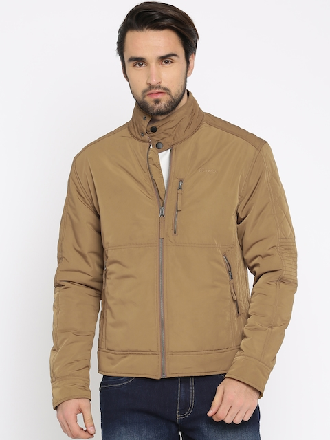 Wrangler Men Khaki Solid Padded Jacket  available at myntra for Rs.2447