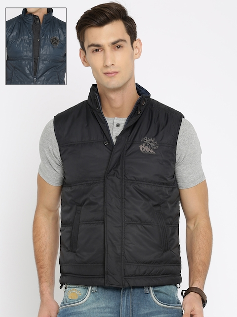 Wrangler Men Navy & Black Solid Reversible Tailored Jacket  available at myntra for Rs.1847