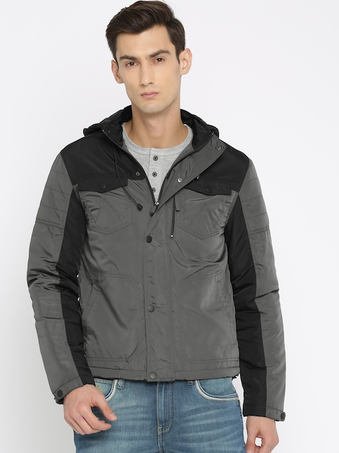 Wrangler Men Charcoal Grey Solid Padded Hooded Jacket  available at myntra for Rs.2647
