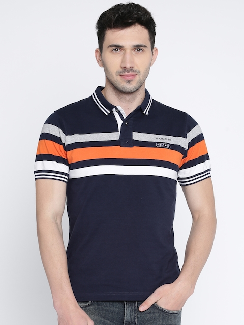 Wrangler Men Navy Blue Striped Polo Collar T-shirt  available at myntra for Rs.638