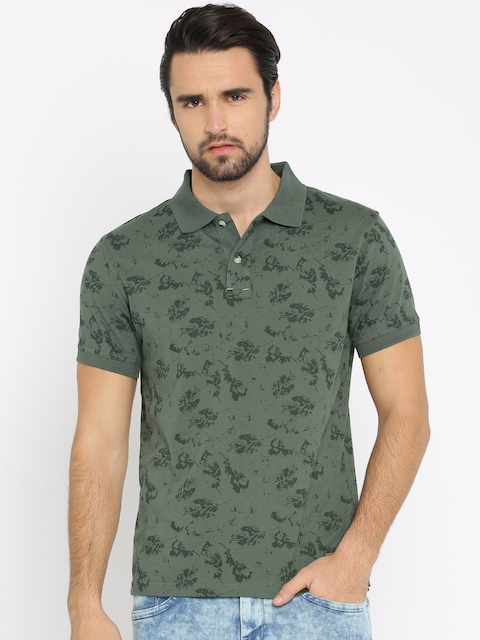 Wrangler Men Olive Green Printed Polo Collar T-shirt  available at myntra for Rs.847